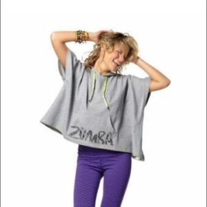 Zumba  disco  Sweatshirt hoodie  in cement  grey